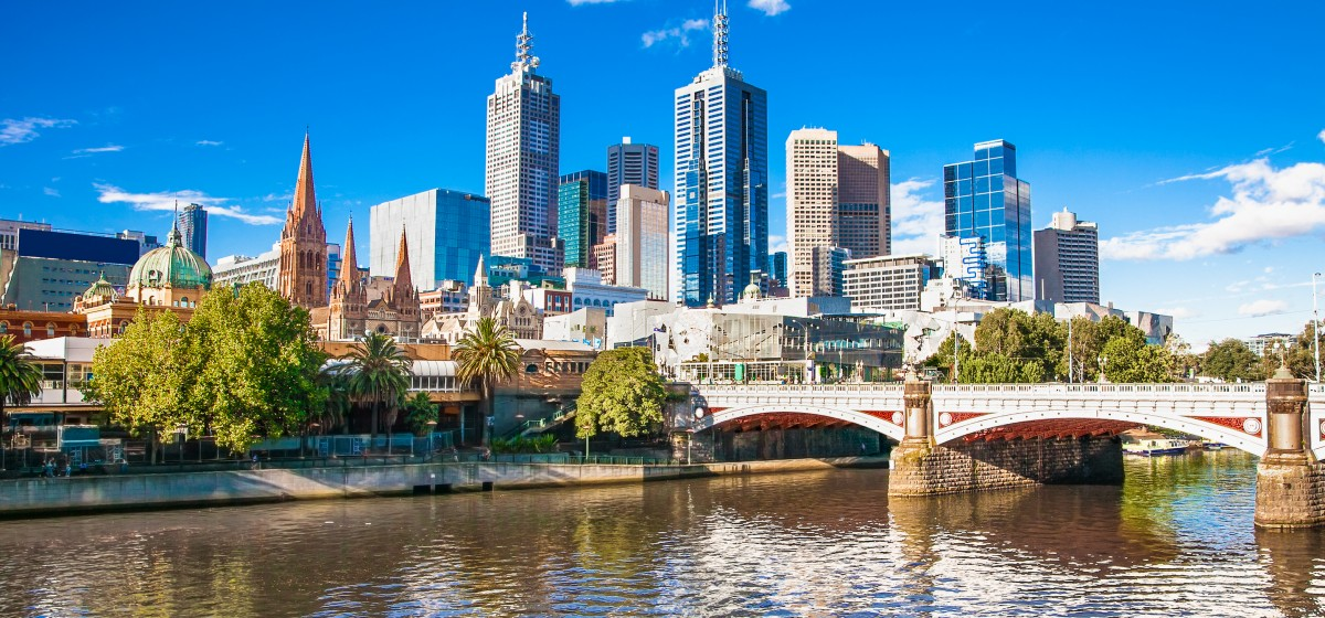 Melbourne skyline looking towards Flinders Street Station. Australia.